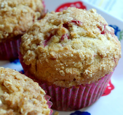 Feast for the Senses: Bright Raspberry Crumb Topped Muffins