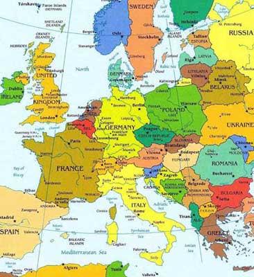 Административная карта европы