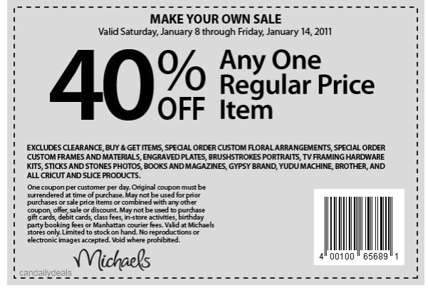 Here is the weekly Michaels printable coupon for 40% off one regular priced