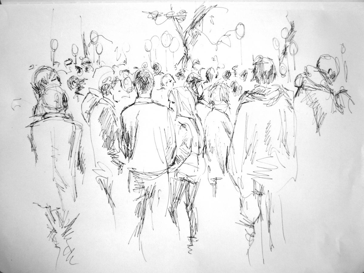 how to draw a crowd scene