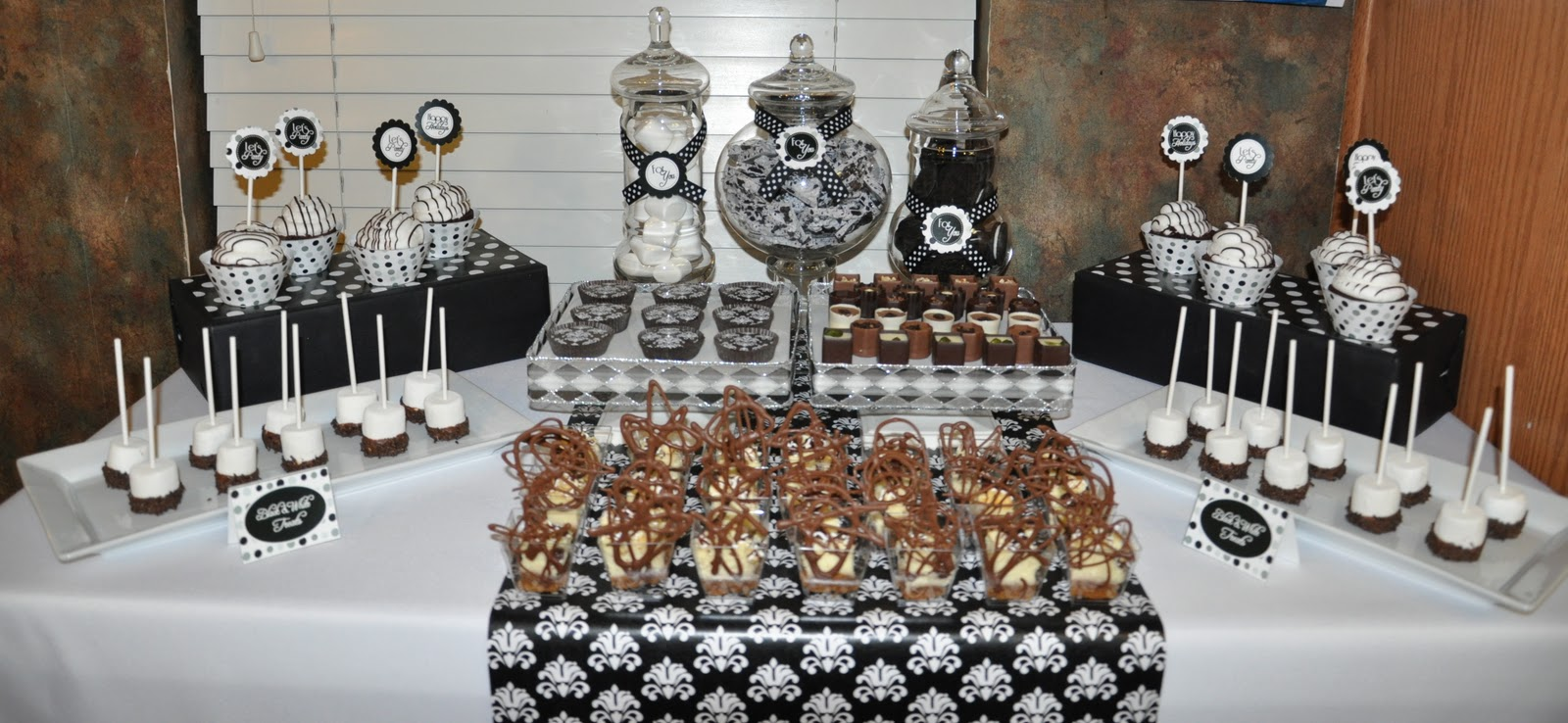 ... to set up a black and white back drop before the guests arrived