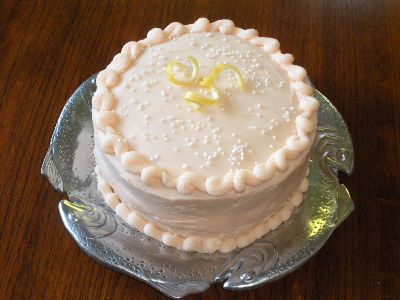 frosting genoise layer cake with rum syrup and whipped cream frosting ...