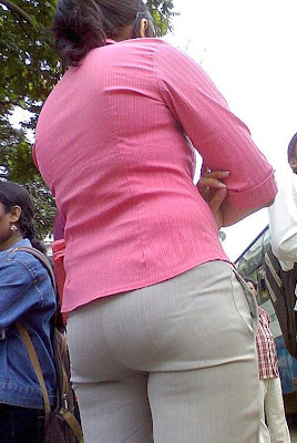 Girl panty line in tight pant