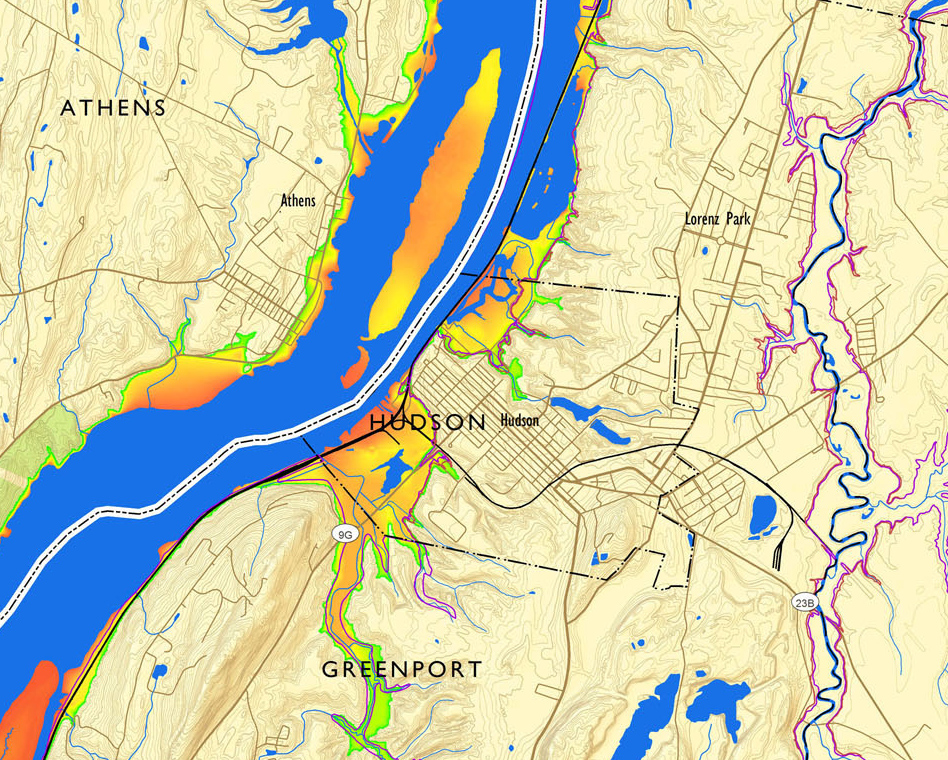 a map of the Hudson River