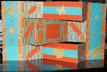 Orange/blue tri-fold card