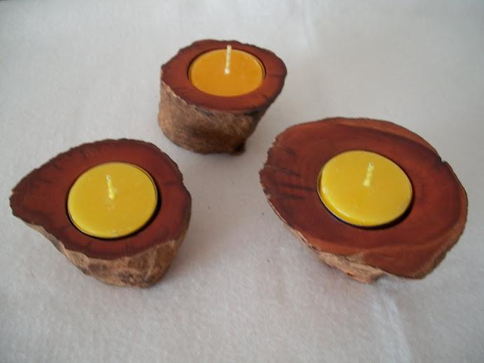 Porta velas em madeira rústica