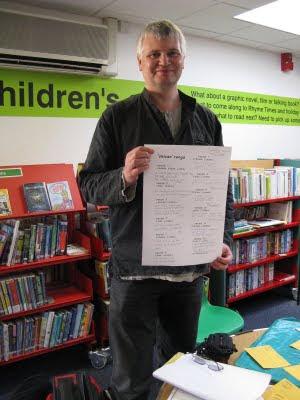 Alan with a renga verse sheet