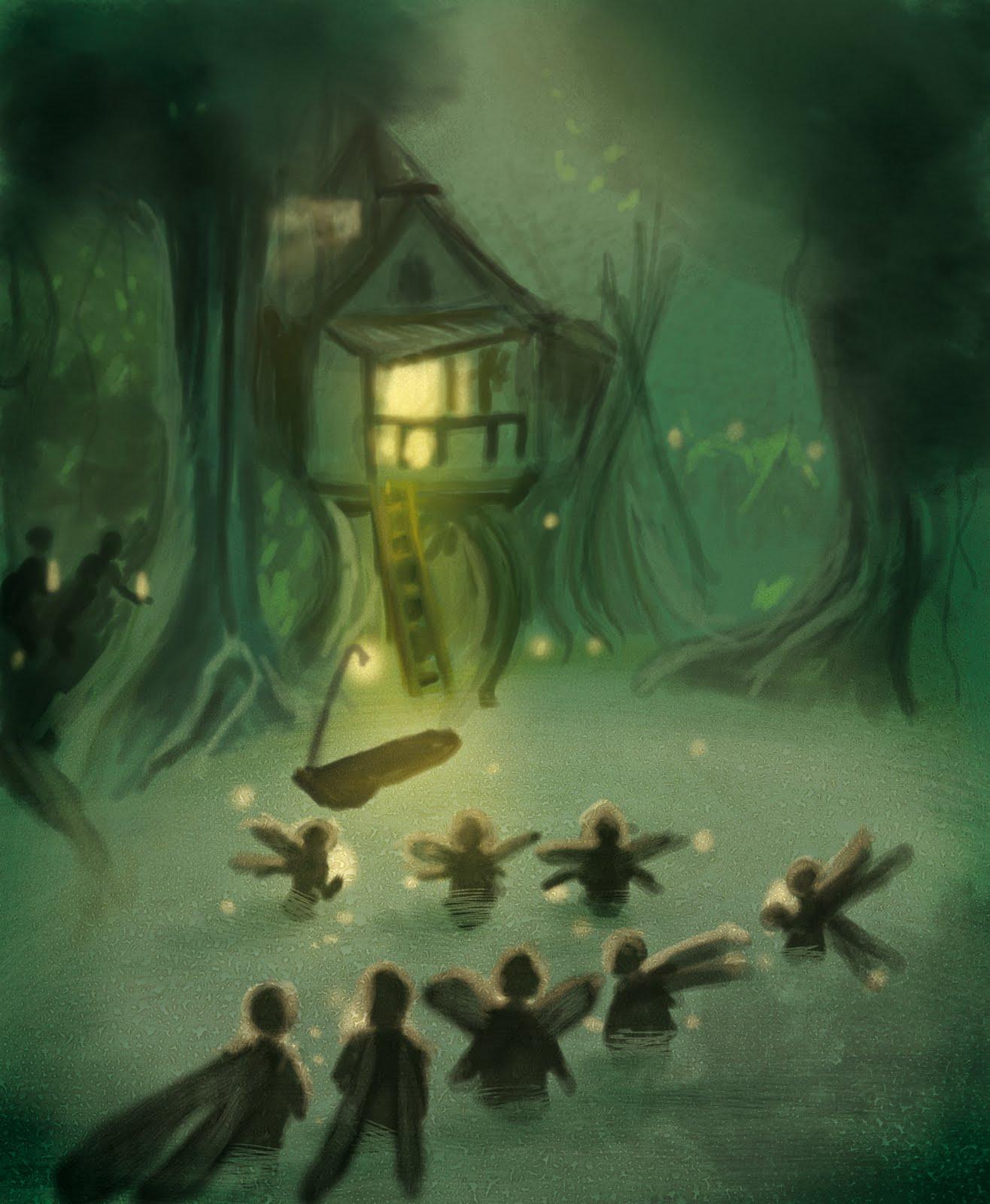 illustration par bO.Rivage : fairy dans un bayou