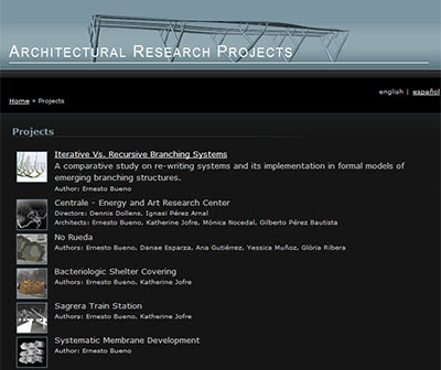 Projects page at Ernesto Bueno's homepage