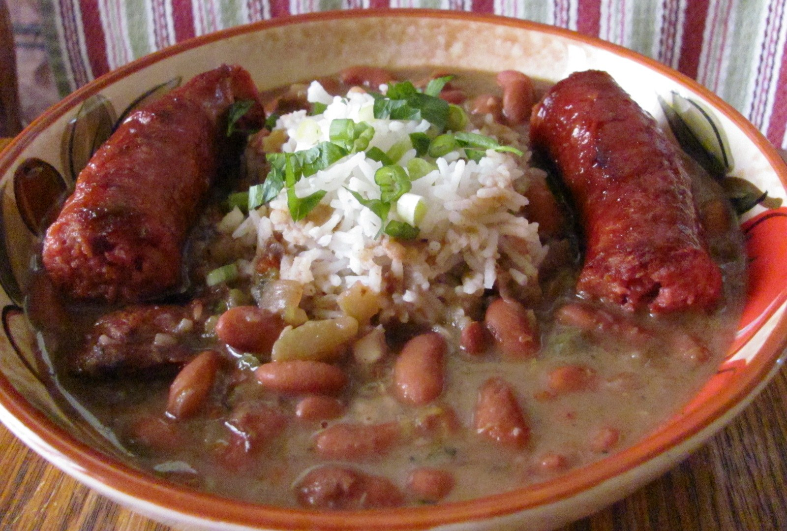 ... red beans and rice is found on nearly every restaurant menu as
