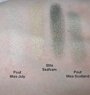 stila seafoam pout miss scotland miss july swatches