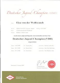 Deutscher Jugend-Champion VDH - Eisa von der Wolfrsanch!