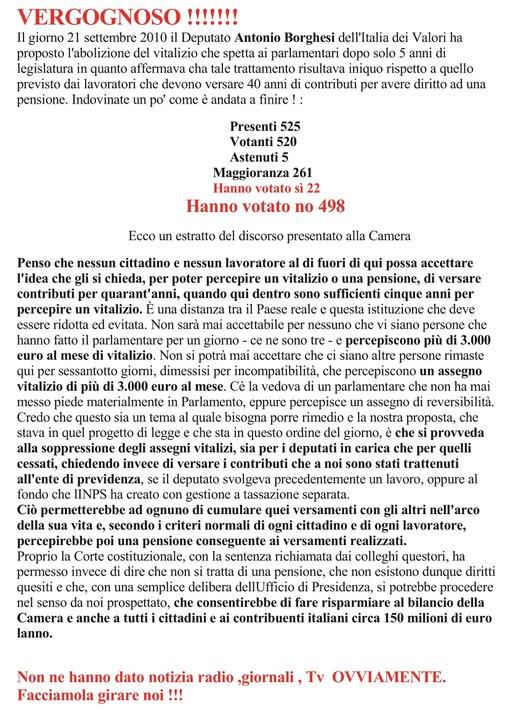 Lavoro vitalizio dei parlamentari italiani for I parlamentari italiani