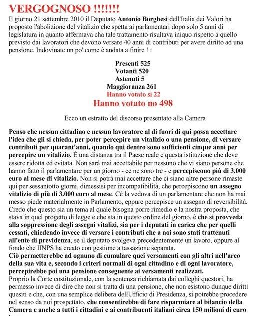 Lavoro vitalizio dei parlamentari italiani for Parlamentari italiani
