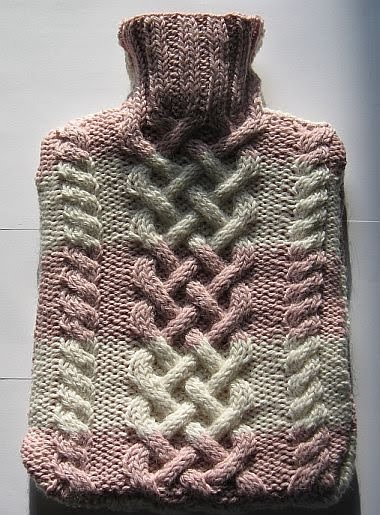 Knitting Pattern For Cable Hot Water Bottle Cover : Kismets Companion: Free Pattern: Cabled Hot Water Bottle Cover