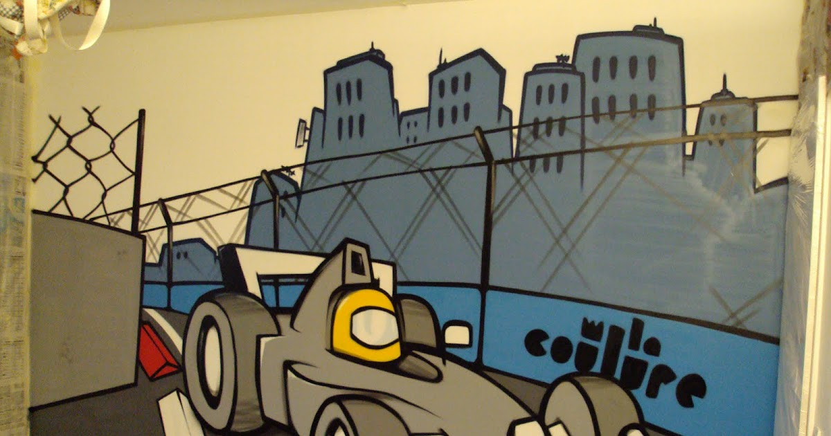 collectif la coulure graffiti lyon graff chambre d 39 enfant formule 1. Black Bedroom Furniture Sets. Home Design Ideas