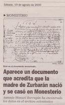 El X aniversario del descubrimiento de la partida matrimonial de los padres del pintor Zurbarán (1)