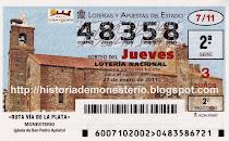 Vea la Iglesia de Monesterio en un billete de la Lotería Nacional