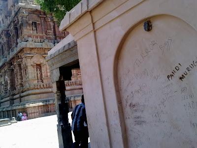 vandalising historical monuments