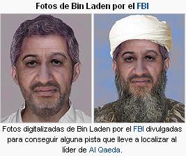 Fotos digitalizadas de Bin Laden por el FBI divulgadas para conseguir alguna pista que lleve a localizar al líder de Al Qaeda