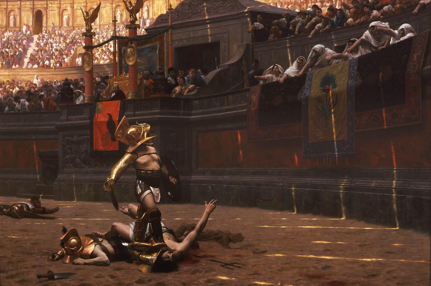 Pollice Verso, de Jean-Léon Gérôme, representando el final de un combate de gladiadores, en donde el público dirige el pulgar hacia abajo, en contra del gladiador derrotado.