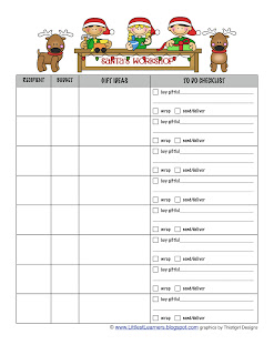 Gift Lists and Gift Ideas Christmas Planner