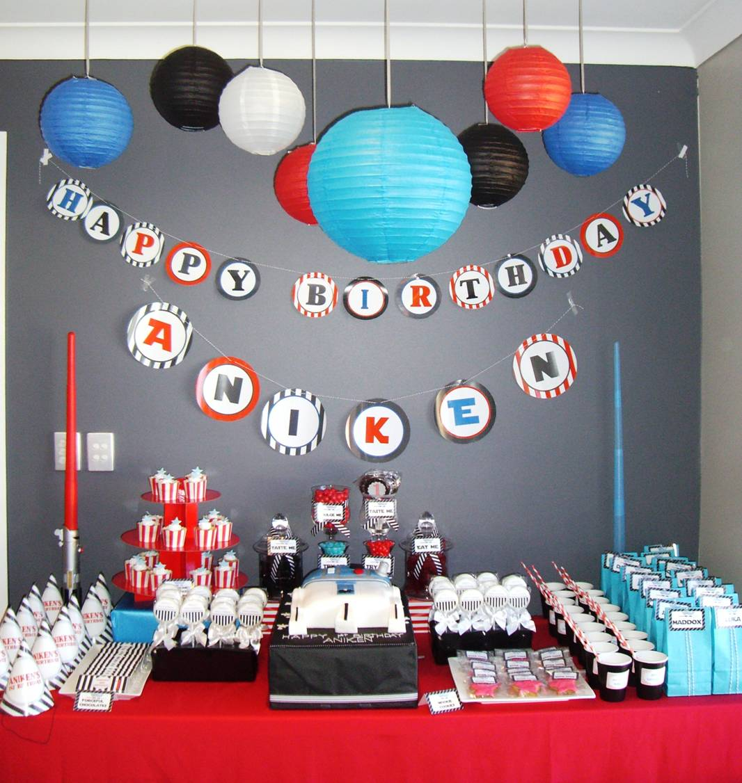Birthday table decorations boy - Jedi Master Aniken 1st Birthday