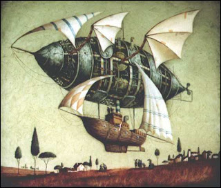 steampunk airship in flight