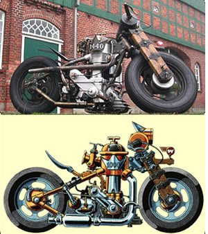 steampunk motorcycle & concept art