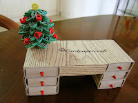 Quilling Christmas Tree and Table of match boxes