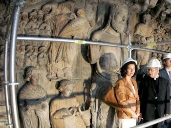 Trabajos de restauración en el Pórtico de la Gloria de la Catedral de Santiago de Compostela