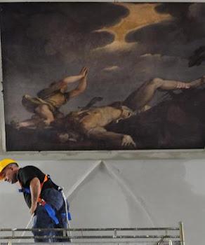 Obra de Tiziano dañada al apagar un incendio en la Iglesia Nuestra Señora della Salute en Venecia