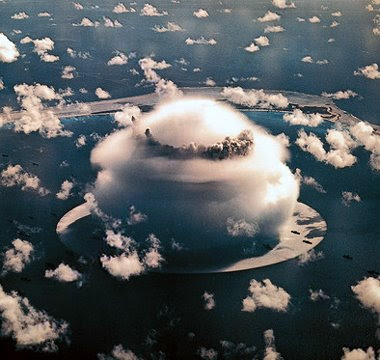 Atomic Bomb Code Name Baker, Bikini Atoll, Height Minus 90 Feet Underwater,Burst 21 kilotons Yield. July 23, 1946 0835 local time. photo US Military.