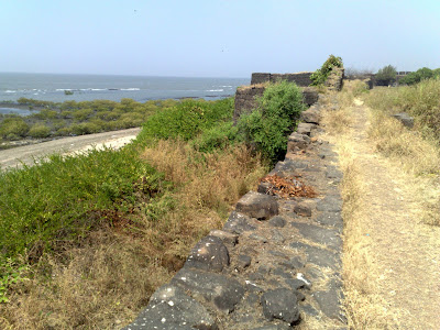 View of the Beautiful Foamy Arabian Sea from Alibag Fort.
