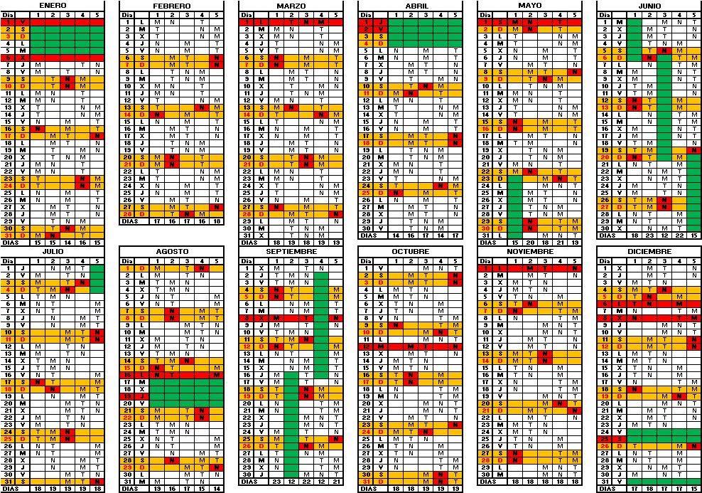 calendario 4 turnos