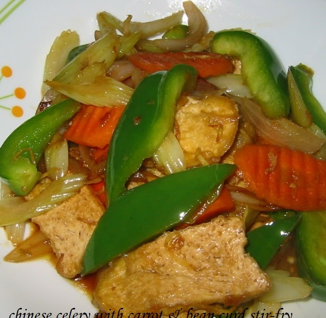 My kuali chinese celery with carrot bean curd stir fry for Ada s fish fry