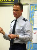 Lt. Col. Ball, USAF Air Force One Navigator, Speaks to Middle School 1