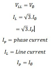 delta connected alternator formula