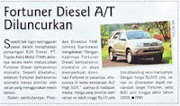 Fortuner Diesel G A/T Diluncurkan