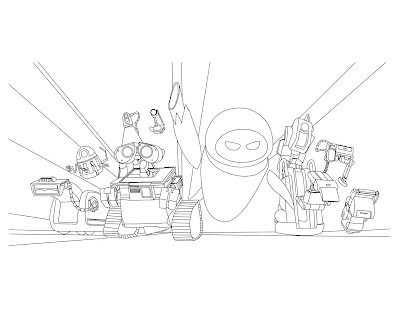 here is a great coloring page of Wall-e and the gang.