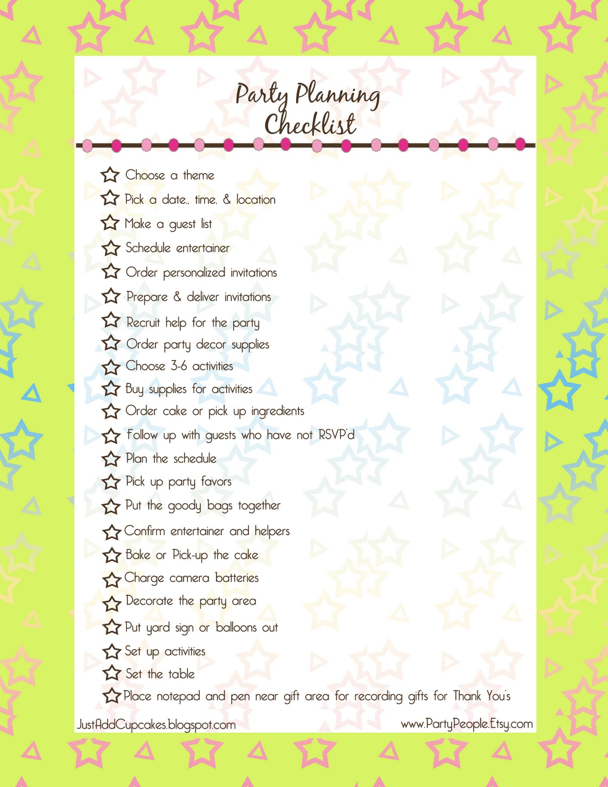 photo regarding Printable Quinceanera Checklist called Celebration listing printable Trials Eire