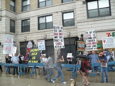 Christian extremists protesting against queer event