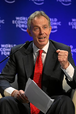 Blair looking ghoulish at the World Economic Forum
