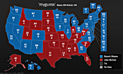 electoral college map with my guesses as to who will win each state