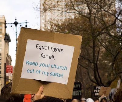 sign that says: Equal Rights for All. Keep your church out of my state.