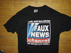 tee shirt saying Faux News, we distort, you comply