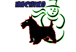 hachiko,patung salju,boneka salju,Anjing