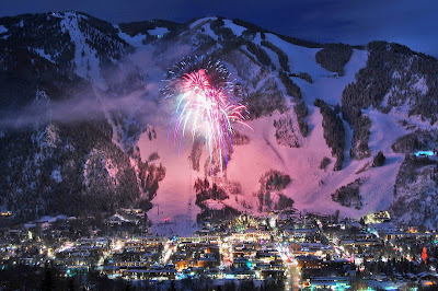 Aspen Winter Fireworks Over Aspen Mountain