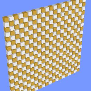 JOGLで描画した市松模様に配置した立方体