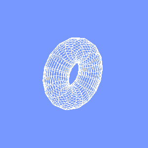groovyとJOGLで描画したワイヤーフレームのドーナツ型